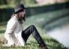 Many thoughts (Basana Leonardo) Tags: black girl hat river many thoughts sit thinking leonardo basana