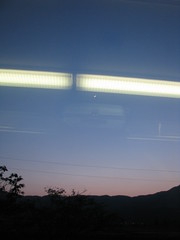 From Kumamoto to Aso  () Tags: moon mountain japan train montagne lune landscape dusk   paysage crpuscule   japon   fromkumamototoaso dekumamotoaso