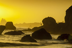 Trinidad beach, northern California, USA (Hasticay) Tags: ocean california sunset orange beach water fog rocks pacific calm trinidad romantic