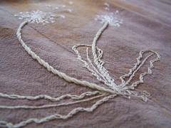 dandelion on madder dyed (sandySTC) Tags: embroidery cotton madder handdyed embroider cottonfloss floursack ironmordant
