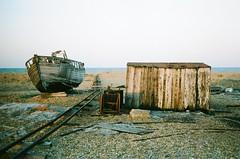 (Pixietoria) Tags: railroad film beach cabin horizon shed railway hut dungeness traintrack railwayline boar pentaxkm