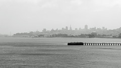 A View of the City (JB by the Sea) Tags: ocean sanfrancisco california blackandwhite bw fog skyline pacific pacificocean fortpoint sanfranciscobay presidio july2013