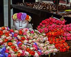 Street stall in Liverpool (hehaden) Tags: street flowers england liverpool silk stall colourful headband