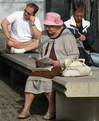 People in a park (bokage) Tags: park street woman hat sweden stockholm bokage