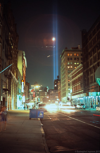 """Tribute in Light"" (Towers of Light) 9/11 2013, Lafayette Street, NYC"