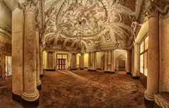 the_hall (CONTROTONO) Tags: barcelona madrid light urban panorama sun house newyork paris building london abandoned home beautiful photoshop vintage dark gold hall florence rust peeling floor stitch decay frankfurt room pano exploring explorer perspective wideangle palace ceiling forgotten urbanexploration dome stitching photomerge disused dusseldorf drama exploration derelict fresco hdr decayed decaying stucco dereliction urbex photomatixpro panoramaview explored