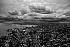 Views From Above (Smirfman) Tags: toronto canada clouds mono blackwhite cntower skyscrapers lakeside citycentre
