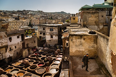 lookmeluck.com-9725.jpg (Look me Luck Photography) Tags: old people streets leather architecture buildings town muslim small religion culture historic unesco morocco fez maroc medina streetphoto walls population oldest fes worldheritage walled tannerie tanneur feselbali