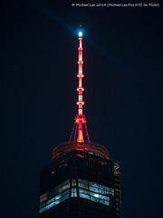 Super Bowl Spire on One WTC (P1270707) (Michael.Lee.Pics.NYC) Tags: world seattle newyork night one super center bowl denver illuminated spire seahawks wtc broncos trade beacon 48 xlviii