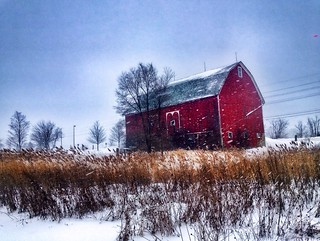 Mighty Red Barn in Snowstorm