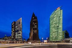 Potsdamer Platz (Nelofee-Foto) Tags: longexposure berlin tourism architecture night germany deutschland nightshot nacht sightseeing bluesky architektur bluehour sight blauerhimmel tourismus nachtaufnahme langzeitbelichtung blauestunde sehenswürdigkeit