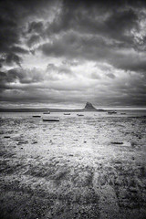 Lindisfarne (Jon Downs) Tags: uk cloud white black castle art monochrome clouds digital canon downs landscape boats island photography eos grey mono boat photo jon flickr artist photographer image united gray picture kingdom pic holy photograph 7d hdr highdynamicrange lindisfarne jondowns