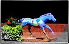 Louisville KY ~ Out Door Sculpture Contest ~ Racing Horse (Onasill ~ Bill Badzo) Tags: door flowers blue sculpture horse art out logo colours kentucky ky contest racing winner louisville derby streamline specific onasill
