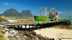 Island Trader Berthed at Lord Howe Island Wharf, NSW, Australia (Black Diamond Images) Tags: lordhoweislandtrader lordhoweislandwharf nsw boat islandtrader lordhoweisland ship vessel wharf yambatrader aviary collection blackdiamondimagescollection nswnationalparks