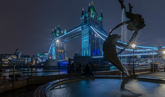 Girl And Dolphin (iankent1963) Tags: sculpture towerbridge river waterfront longexposure london fountain cityscape thames winter cold nikond5100 sigma1020 flickr nightshot