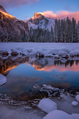 Fire and Ice (Darkness of Light) Tags: yosemite np national park halfdome half dome cooks meadow winter sunset sunrise horsetail firefalls valley merced river long exposure firecrest hitech formatt circle polarizer cpl north sentinel spring board