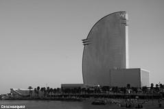 Hotel Vela - Barcelona (Cescvazquez) Tags: hotel vela hotelvela barcelonacity barcelonagram barceloneta igers igersbarcelona blackandwhite landscape skyline arquitecture beach beachtime building bcn raconsdebcn nikon nikond90 cescvazquez