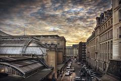 Paris, Gare de l'Est (Luc Mercelis) Tags: paris sonyslt77v minoltaprimelens50mm minolltaprimelens20mm minoltaprimelens24mm minoltaprimelens minolta textureeffects clouds blue red yellow gare de lestgare lestarchitecturecarscityscapecity tripcity light