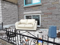 The Glory of Spring (navejo) Tags: montreal quebec canada parkex sofa couch garbage trash fence