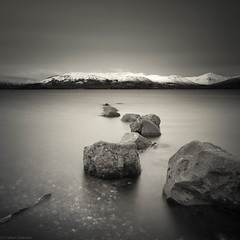 The Rocks (strachcall) Tags: lochlomond square landscape monochrome water squareformat blackwhite scotland bw rocks 500x500 milarrochybay
