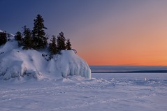 lake superior sunset (twurdemann) Tags: archeangranite blueice canadianshield cold frozen groscap ice lakesuperior landscape longexposure nature nikond300s ontario princetownship scenic seascape shoreline snow viveza water whitefishbay winter