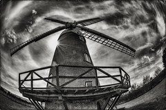 Wheres Don Quixote ? (Evoljo) Tags: donquixote windmill wilton sky wiltshire uk blackwhite brick nikon d500 fisheye
