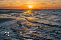 Walking with the ebbing tide (alun.disley@ntlworld.com) Tags: wallasey beach sunset nature windfarm tide water seascape landscape sky thegreatoutdoors wirral merseyside reflections shoreline maritime