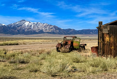 The Old One (http://fineartamerica.com/profiles/robert-bales.ht) Tags: haybales nevada oldcarandetc oldtruck people photo places projects states toworkon transportation western phonecase oldcar modelt rustic landscape snow mountains rollinghills oldpickupoldtruck oldwestphotography schellbouonestation ponyexpress beautiful sensational spectacular scenicphotography awesome magnificent peaceful surreal sublime antique oldcollectable classictruck junk desert super rusty vehicle retro nostalgia vintage windshield chrome chassis collector grille headlight ford robertbales