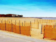 Manhattan Beach at Winter. Entrance to the Labyrinth (Sand Catcher) (dimaruss34) Tags: newyork brooklyn dmitriyfomenko image sky clouds winter manhattanbeach fence