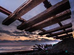 broken rail (shingo7099) Tags: hokkaido night day ocean rail railway bridge sea winter spring sky cloud sunset wood train way
