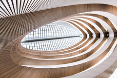 Eyes Wide (Robert_Franz) Tags: architecture architectural abstract futuristic modern urban city colors building library calatrava zürich white wideangle