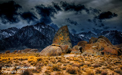 Stormy Sky Over Alabama Hills (Bill Wight CA) Tags: billwight copyright2017 northamerica america unitedstates usa americanwest pacificstates california inyocounty lonepine alabamahills 395 highway highsierra sierranevada sierranevadamountains sierras serene mountain rocks boulders formations travel destination hiking recreation family atmosphere landscape nobody noone nopeople outdoor outdoors outside geologic geology granite silence tourism colors composition mountainrange naturalarea skies sky skyline lonepinepeak mtwhitney storm stormysky darksky