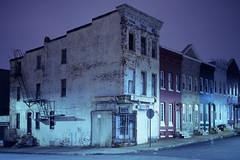 (patrickjoust) Tags: baltimore maryland abandoned vacant cornerstore rowhouse fujicagw690 fujichromet64 6x9 medium format 120 rangefinder 90mm f35 fujinon lens tungsten balanced chrome slide e6 color reversal discontinued film cable release tripod long exposure night after dark manual focus analog mechanical patrick joust patrickjoust