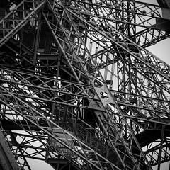 Eiffel Tower, Paris, France (pas le matin) Tags: monochrome architecture bw nb blackandwhite noiretblanc travel world voyage eiffel eiffeltower toureiffel paris france europe europa closeup steel acier tower tour canon 5d canon5d 5dmkiii canon5dmkiii eos5dmkiii canoneos5dmkiii