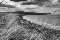 cayton view (#christopher#) Tags: blackandwhite cayton bay sea ocean cliffs point landscape seascape monochrome sky clouds