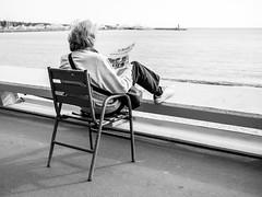 Le Monde (totofffff) Tags: street photo noir blanc omd em1 cannes croisette film festival chaises bleues france côte dazur leica pana 25 14