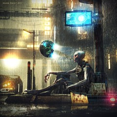 Just trying to get home (Mark Frost :)) Tags: daz 3d model cg cgi render digital sculpting alien grey inhuman dark rain raining splash wet space suit scifi science fiction scared exile bladerunner robot drone car monitor deluge sunset