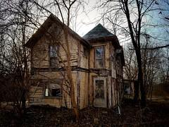 the last house on the left... (BillsExplorations) Tags: abandonedillinois abandoned decay forgotten ruraldecay hidden abandonedfarmhouse shuttered country rural left yellow