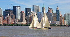 Sail Boat Race as seen from Liberty Park in Jersey City, NJ (5 of 6) (gg1electrice60) Tags: jerseycity newjersey nj libertystatepark libertypark historicplace newyorkharbor audreyzappdrive freedomway saltwater unitedstates us usa america welcomeimmigrants outdoor vessel boat ship sailboat brooklynskyline manhattenskyline newyork newyorkcity newyorkstate nyc sailingvessel sloop spinakar sails mainsail mast rigging people sailers cranes