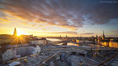 Katarina Sunset (rh89) Tags: stockholm sweden katarina elevator sunset hissen platform viewing view flare sunstar sun star sony a7r fe 1635mm 1635 wide angle long exposure neutral density nd filter filters 100mm city cityscape aerial birds eye bird high top clouds travel urban slussen