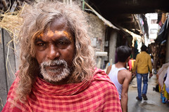 The devotee (Rajib Singha) Tags: travel street people portrait devotee red religion custom faith interestingness flickriver nikond7200 kumartuli kolkata westbengal india