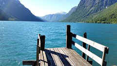 The bridge at the lake (michellemätzig) Tags: spring nature europe norway vacation colour water lake mountain best beautiful good gorgeous awesome incredible exciting favorite fantastic blue wow sky