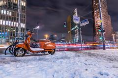 Berlin - Leipziger Straße (figatz) Tags: berlin germany deutschland leipziger street lambretta motorcycle longexposure snow winter europe traillights trail night nikon tokina gorillapod nightphotography 1120mm
