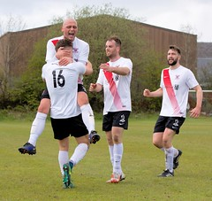 The assist from Alan Frizzell is recognised by his team-mates (Stevie Doogan) Tags: clydebank cumbernauld utd mcbookiecom west scotland league superleague first division holm park saturday 15th april 2017 bankies scottish juniors