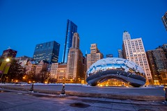 The bean (selo0901) Tags: snow cloudgate sunrise chicago thebean