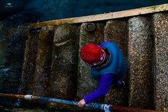 A Tentative Steps Towards the Inky Unknown (jpearce2307) Tags: steps stairs harbour slippery sea depths inky contrast colour stone texture unknown down nikon d800 tamron 2470 28