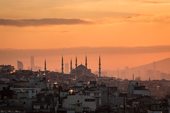 Dawn over İstanbul (Anthony P26) Tags: architecture category citiestowns external istanbul places sunrise travel turkey travelphotography turkiye sultanahmetmosque clouds goldendawn dawn goldenhour goldenlight sky rooftops houses buildingstructure structure streets outdoor tamron70300 canon70d canon skyline cityscape roof city