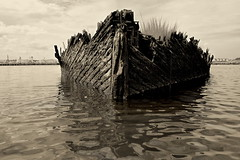 Rotted Hull (95wombat) Tags: abandoned boat decay rotted tattered crusty marinegraveyard arthurkill statenisland newyork