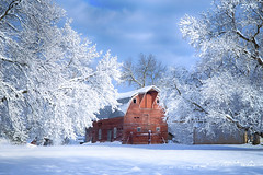 :: spring snow :: (mjcollins photography) Tags: spring snow winter red rural rustic barn minnesota landscape farm