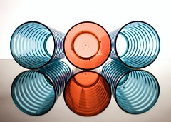 Cups (Karen_Chappell) Tags: blue red white circle circles lines geometric geometry plastic glass stilllife reflection reflections three 3 colour colourful glasses tumbler cup product